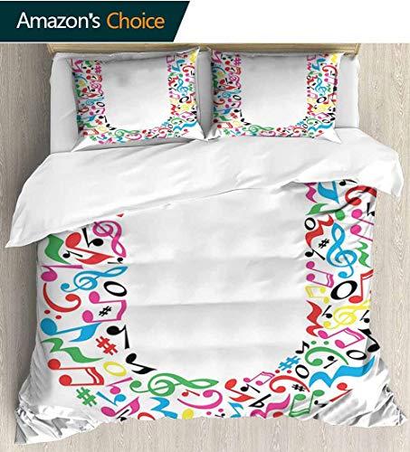 (Letter U Modern Pattern Printed Duvet Cover,Colorful Musical Elements Notes Major and Minor Graphic Alphabet Artwork Pattern Soft Microfiber Bedspread Coverlet Bedding 87