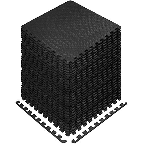Yes4All Interlocking Exercise EVA Mat Floor Protector (120 Square Feet - Black - with Border) - ²XPAJZ (Best Flooring For Basement Workout Room)