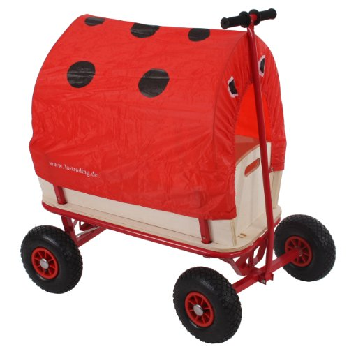 Bollerwagen Handwagen Leiterwagen Oliveira ~ ohne Sitz, mit Bremse, Dach Marienkäfer rot