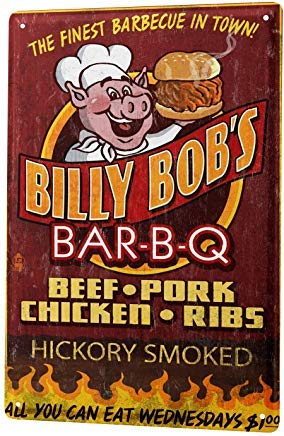 TinSIGNS Cartel de Lata de Worlddream Retro Billy Bobs BBQ ...