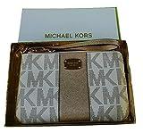 Michael Kors Met Center Stripe LG TZ Wristlet (Vanilla / Pale Gold)