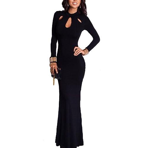 Women's Elegant Slim Long Sleeve Hollow Out Bodycon Maxi Dress