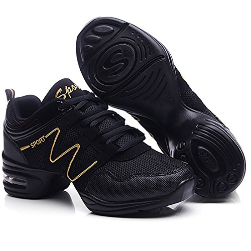 up Gymnastik Tanz Dancesneaker YIBLBOX Schwarz Damen Golden Lace Sport Schuhe Training Tanzschuhe Tanzsneaker jazzdance Fitness Websneaker Turnschuh 5OqzIqw