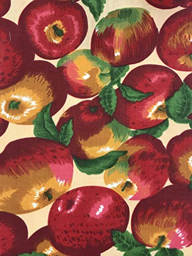 Apples All Over on Beige Background Poly Cotton Fabric by The - With Fabric Apples