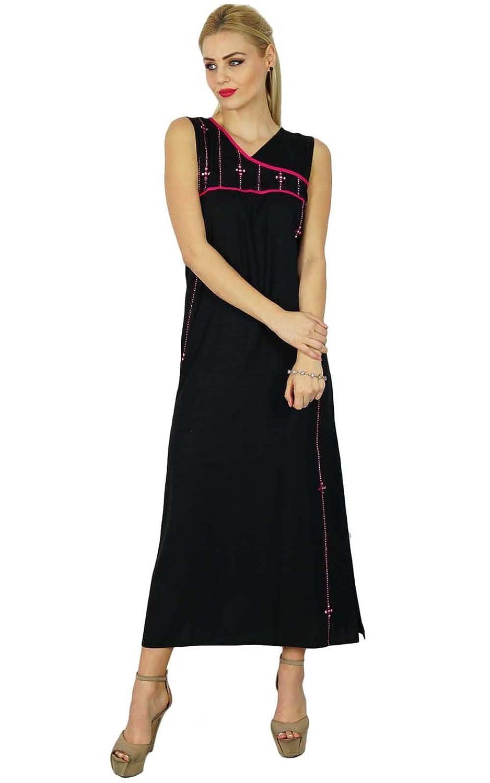 Bimba Women Black A-Line Maxi Dress Sleeveless Casual Custom Clothing