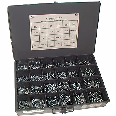 Northeast Fasteners Machine Screw and Nut Assortment, Round Head Screws with Nuts, Coarse (USS) and Fine (SAE) Thread, Set of 1900 Pieces