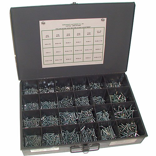 NEF Machine Screw and Nut Assortment, Round Head Screws with Nuts, Coarse (USS) and Fine (SAE) Thread, Set of 1900 Pieces by Northeast Fasteners