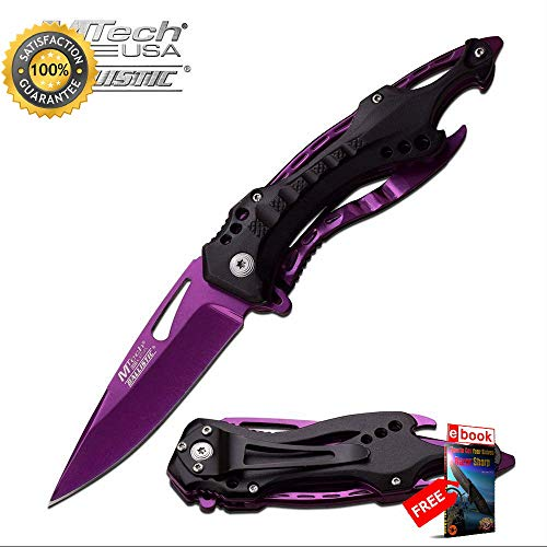 SPRING ASSISTED FOLDING POCKET Sharp KNIFE Mtech Purple Blade Survival Black Tactical Combat Tactical Knife + eBOOK by Moon Knives