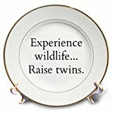 3dRose BrooklynMeme Funny Sayings - Experience wildlife raise twins - 8 inch Porcelain Plate (cp_261262_1)