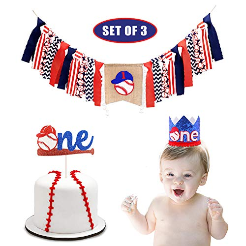 Baseball Theme 1st Birthday Decorations Set for Baby Boy Baseball ONE Highchair Banner Crown Cake Topper Cake Smash Party Supplies Set of 3