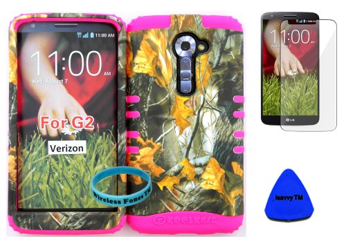 Wireless Fones TM High Impact Hybrid Rocker Case for LG G2 VS980(Verizon only) Hard Mossy Camouflage One Oak Design on Pink Silicone with Screen Protector, iSavvy Pry Tool & Wrist Band (Case G2 For Phone Cell Lg Verizon)