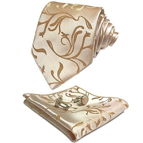 CANGRON Men Champagne Gold Floral Tie Set Necktie with Pocket Square Cufflinks +Giftbox ()