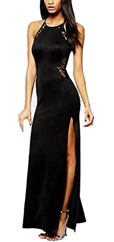 c25be8533487 Vestiti Donna Eleganti Abito Da Sera Estive Lungo Vestito In Pizzo Nero  Abito Da Cerimonia Senza Maniche Spacco Vintage Abiti Maxi Festa Vestitini  Banchetto ...