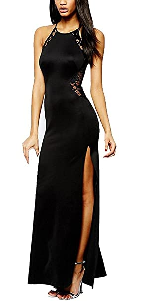 194e859566ef Vestiti Donna Eleganti Abito Da Sera Estive Lungo Vestito In Pizzo Nero Abito  Da Cerimonia Senza