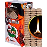 Fire Starter Squares - 100pc fire starters for fireplace - Camping fire lighter - Grill charcoal starter cubes - Firestarters for campfires | fireplace | fire pit burns 10-12 min