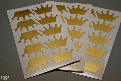 40 crown stickers peel and stick Party décor cups invitations Wall Sticker sheets Decal Gold Silver Black Many Colors Crafts Scrapbooking Birthday Envelope Seals girl princess baby shower for $<!--$4.99-->