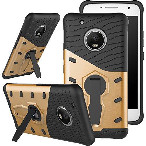 Funda Moto G5 Caso Carcasa [Heavy Duty] 360 Grados de Rotación Soporte , de Combinación a Prueba de Golpes,Híbrido Defender Carcasa Duro Prueba de Choques y Dustproof de Caja Protectora Para (MOTO G5, Dorado