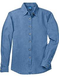 Port & Company Women's Long Sleeve Value Denim Shirt