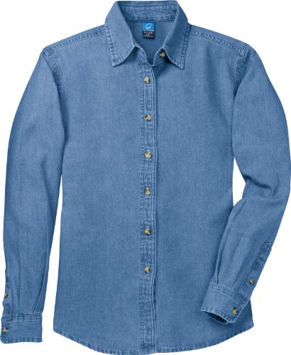 Port & Company – valor de manga larga camisa Denim (lsp10) Faded Blue*
