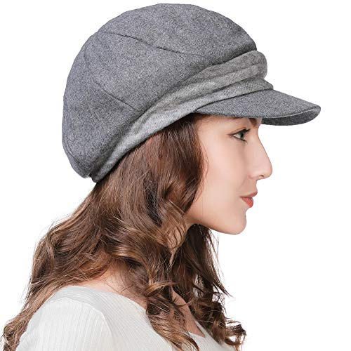 Womens Wool Blend Visor Beret Newsboy Cap Paperboy Cabbie Painter Driving Hat Gray