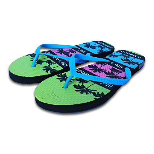 Chatties Women's Casual Blue Rubber Flip Flops Slippers, Palm Trees Print 8 M (Palm Tree Slipper)