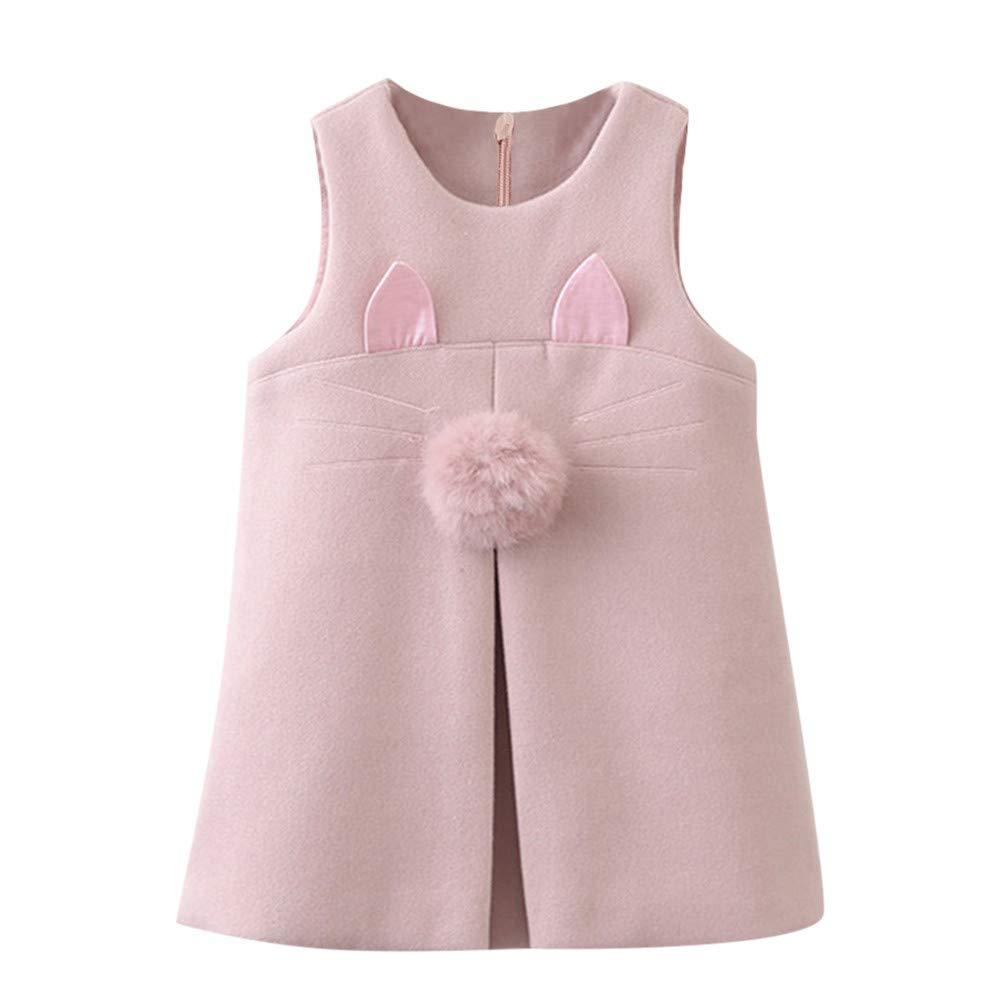 Toddler bambini neonate senza maniche animali orecchio gatto abiti abito, YanHoo Vestito da carro armato con ricamo di orecchie di gatto con palline smanicate per bambini(24M-6anni)