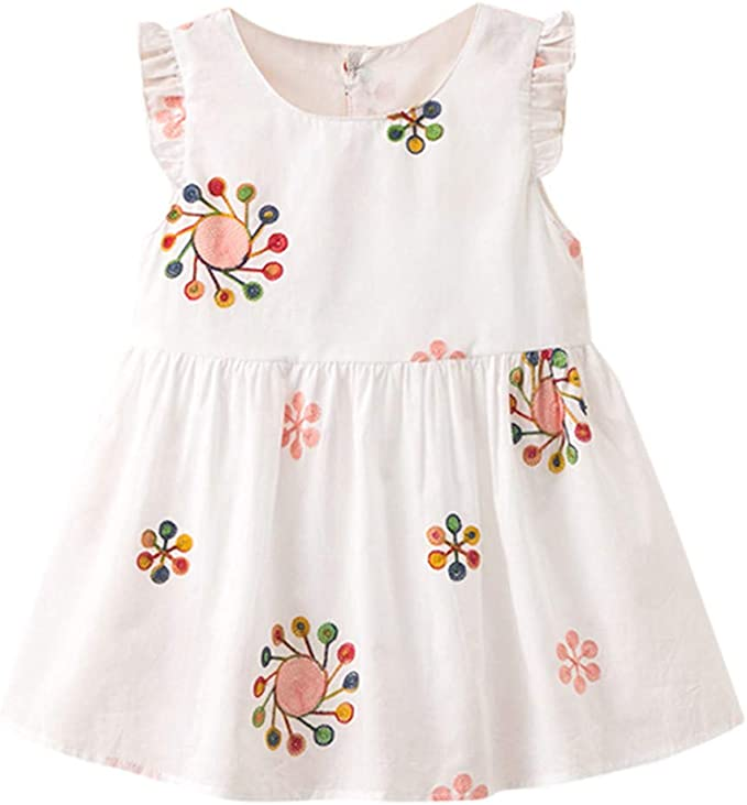 Sannysis Simple Vestido de Plisada Volante niña Lollipops Floral ...