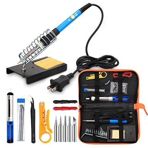 Anbes Soldering Iron Kit Electronics 60w Adjustable Temperature Welding Tool 5pcs Soldering Tips Desoldering Pump Soldering Iron Stand Tweezers