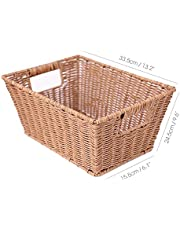Hand-Woven Storage Basket for Organizing, Rectangle Basket Multipurpose Container