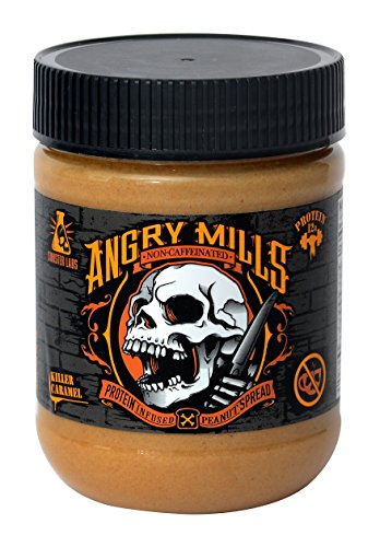 (Angry Mills Whey Protein Isolate-Infused Peanut Spread by Sinister Labs - Non-Caffeinated - (12 oz jar) (Killer Caramel, 1-Pack))