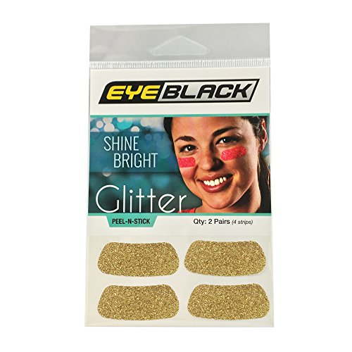EyeBlack Gold Softball Glitter Eye Black Strips, 2