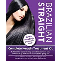 Brazilian Straight Keratin Home Use Treatment Kit, Salon Quality Hair Straightening/Blow Dry/Smoothing, 100ml, Great Gift/Present