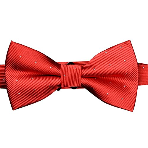 Silver Pocket Polka Bowtie Fashion Square Red Set Mens AINOW tied Dots Pre 1WcInSp