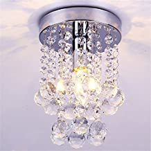 """DELIPOP Modern Crystal Chandelier Ball Rain Drop Pendant Flush Mount Dia.6.3""""inch Warm Color Ceilling Light with E12 Bulb for Bedroom Dining Room"""