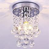 Delipop Contemporary Crystal Drop Chandelier Flush Mount Dia.6.3 quot;x H.9 quot; Warm Color E12 Bul