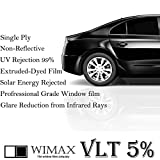 Wimax Black 5% VLT 36 In x 100 Ft (36 x 1200 Inch) Feet Uncut Roll Window Tint Film Auto Car Home