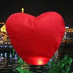 Red Heart Sky Lanterns Chinese Flying Lanterns (2pcs)