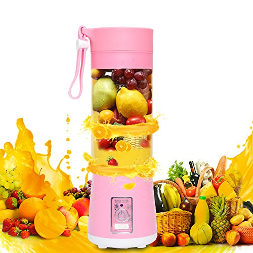 Frigidairenire Portable Electric Fruit and Vegetable Mixer Juicer Blender Personal Bottle Cup 380ml Rechargeable Can Be Used as Mobile Phone Charger.(red))
