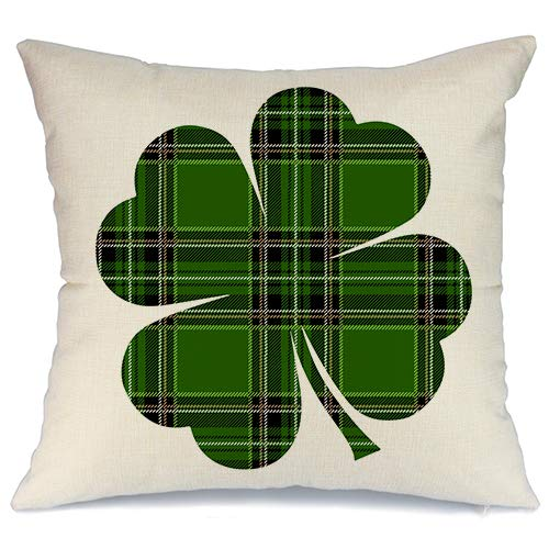 AENEY St Patricks Day Pillow Cover 18x18 for Couch Green Buffalo Check Plaid Clover Happy St Patricks Day Decorations for Home Decor Throw Pillow Cover Pillowcase Faux Linen Cushion Case for Sofa A188]()