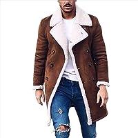 VJGOAL Chaqueta de Parka de Lana para Hombre Botones cálidos de Invierno Gabardina Larga Solapa Vintage Abrigos de Color…