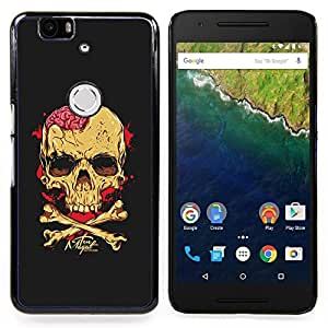 - Black Brain Blood Crossbones Skull - - Snap-On Rugged Hard Cover Case Funny HouseFOR Huawei Nexus 6P