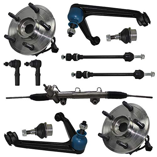 Detroit Axle - 11pc Power Steering Rack and Pinion, Front Wheel Hub Bearing and Upper Control Arm Suspension Kit for 2002 2003 2004 2005 Dodge Ram 1500 4x4 5-Lug w/ABS ()