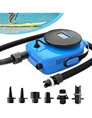 New 20PSI SUP Electric Air Pump, Upgraded Portable LCD Double Stage Electric Pump with 6 Nozzles for Boats, Water Sport, Inflatable Tent