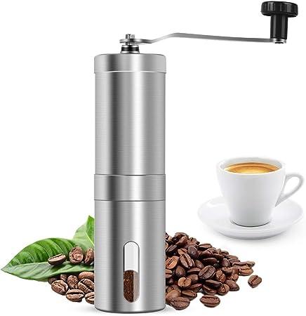Stufenlose Mahlgradeinstellung| Manuelle Kaffeem/ühle Mit Reinigungsb/ürste Handkaffeem/ühle aus Edelstahl 2 St/ücke Keramikmahlwerk Espresso M/ühle
