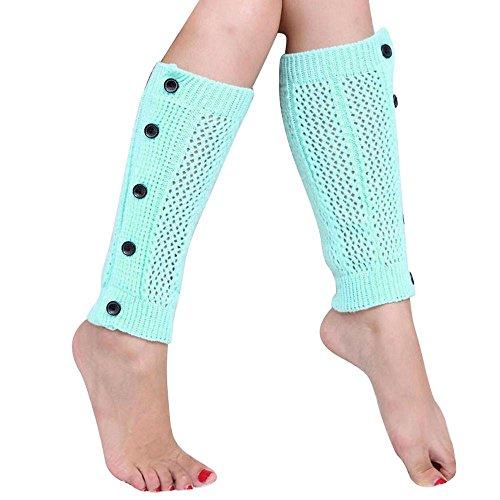 Winterkousen Voor Dames, Bijvoorbeeld Mijn Dames Mesh Five Buttons Beenwarmers Sokken Laarsovertrek Blauw