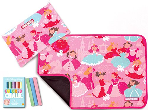 The Piggy Story 'Enchanted Princesses' Fun Time Table Mat with Chalk and Carrying Pouch (Mat Chalk)