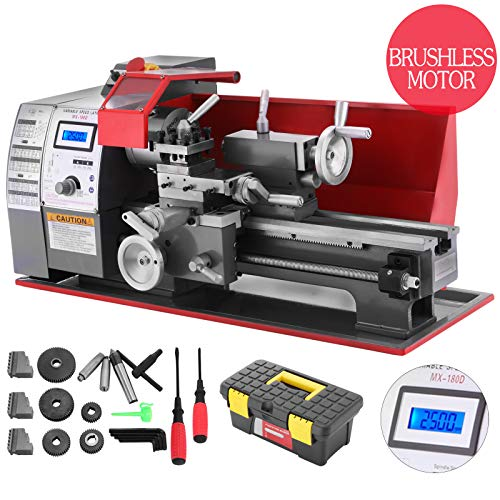 Happybuy 7x12 Inch 600W Metal Lathe 1 Inch 25mm Tailstock Sleeve Mini Bench  Lathe 2 Variable Spindle Speed Micro Maintenance Free Lathe with All-Metal