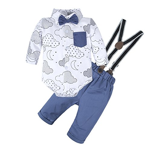 BIG ELEPHANT Baby Boys' 2 Pieces Long Sleeve Romper Suspender Pants Clothing Set with Bowtie U20-70 3-6 Months