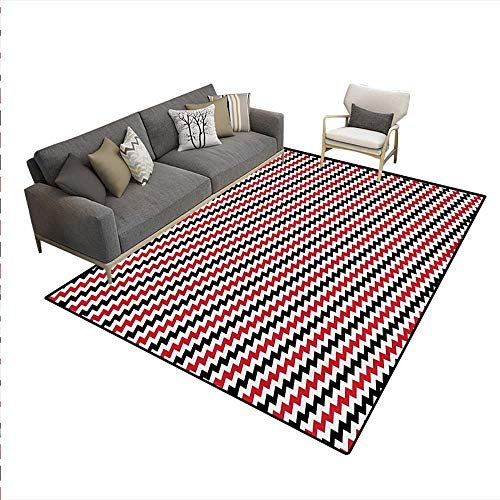 Carpet,Hypnotizing Vintage Zigzag Chevron Wave Seem Retro Border Like Image,Customize Rug Pad,Vermilion White,5'x8' -