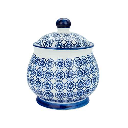 Nicola Spring Patterned Ceramic Sugar Bowl Pot with Lid - Blue Flower ()